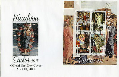 Niuafo'ou 2017 FDC Easter Art Paintings Botticelli Titian 4v M/S Cover Stamps
