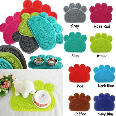 Soft Durable Dog Paw Shape PVC Pet Cat Bowl Feeding Food Placemat Mat Wipe Clean