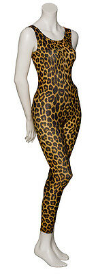 KDC016 Leopard Animal Print Sleeveless Footless Dance Catsuit By Katz Dancewear