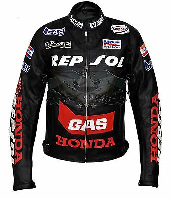 HONDA REPSOL BLACK Motorbike/Motorcycle Racing Leather Jacket With Protections.