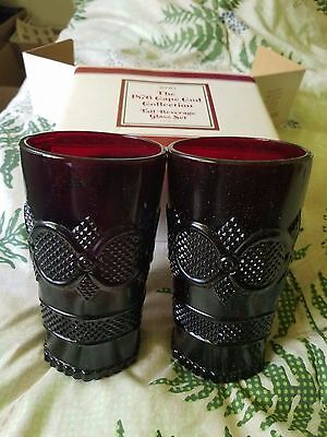 New Avon 1876 Cape Cod Ruby Red Glass TALL BEVERAGE GLASS SET (Set of 2)