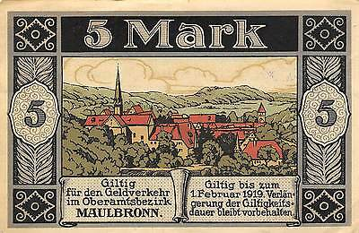 Germany / Maulbronn  5 Mark  31.12.1918    circulated Banknote