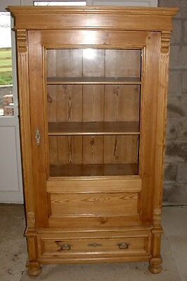 Continental Old Pine Vitrine Glass-Panelled Display Cabinet
