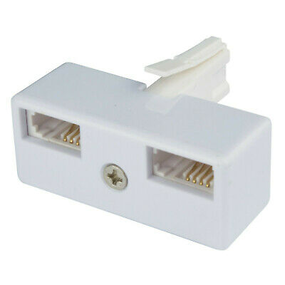 Genuine Double Telephone Lead Adaptor For Uk Bt Landline Single Extension Socket