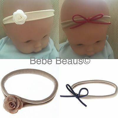 UK Baby Girl Small Headband Leather Bow Flower Newborn Premature Reborn Doll