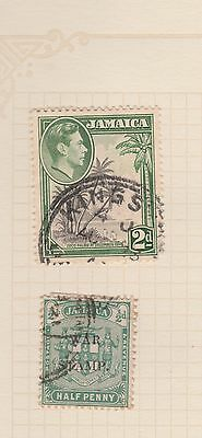 JAMAICA Coco Palms, War Stamp (OVPT) On Album Page, Removed for Postage #