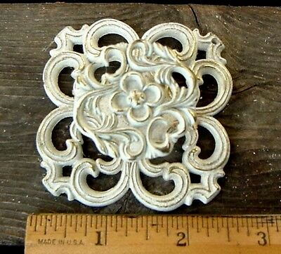 VintageFrench Provincial White/Brass Door/Cabinet/Drawer Pull/Handle & BackPlate