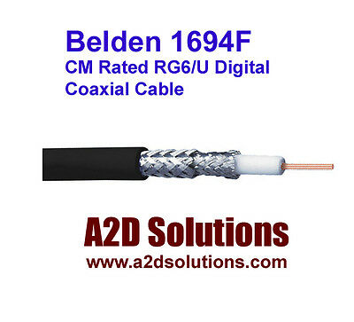 Belden 1694F - 1,000 feet - CM Rated RG6/U Digital Coaxial Cable - Black