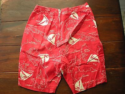 Vtg 60's Boy's Size 8 Nautical Atlantic Ocean Map Swimsuit Red Shorts