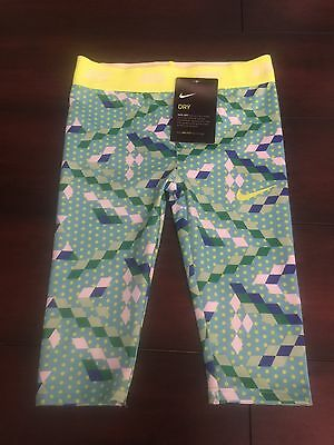 Nike Toddler Compression Capris Green/White/Blue 4T