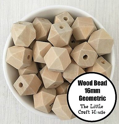 20 Natural Unfinished Geometric Wood Beads 16mm Wooden Bead Hexagon Teething DIY