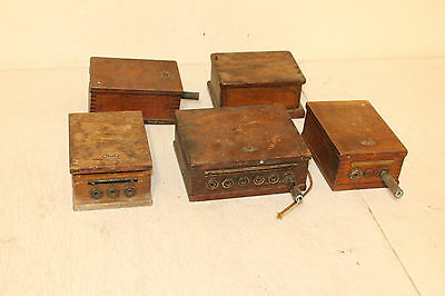 Lot of 5 Hotel Motel Telephone Communication System Wooden Boxes Dovetailed