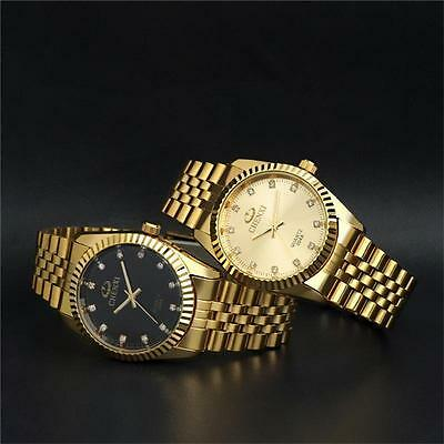 Men Women Stainless Steel Band Gold Plated Wrist Watches Quartz Watch Bracelet F