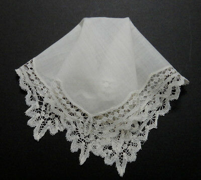"""Antique Tape Lace Linen Hanky - 10""""Sq. - Fine Delicate Heirloom Beauty - VG Cond"""