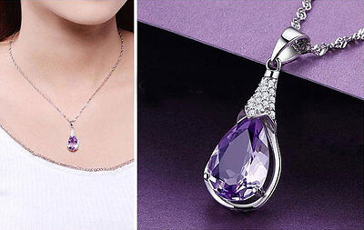 Sterling Silver Purple Amethyst Crystal Waterdrop Pendant Necklace + Gift Box