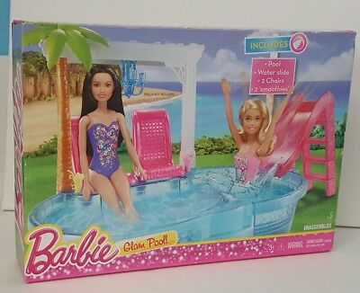 New Swimming Pool Barbie Doll Slide Glam Set Summer Playset Pink Beach Summer Cad