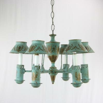 VTG Painted Tole Chandelier Great Size French? Italian Painted Shades 6 Light