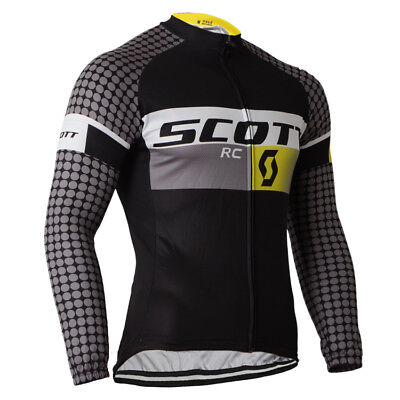 Fashion Long Sleeve Cycle Jersey Men's Black Cycling Biking Long Shirt Top S-3XL