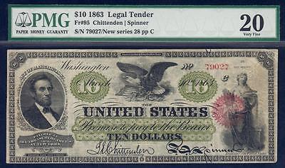 1863 $10 Legal Tender - GREAT HISTORICAL SIGNIFICANCE **VERY RARE** Fr. 95 VF20