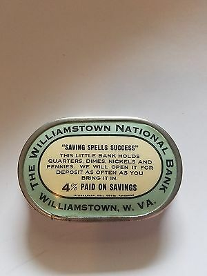 """Celluloid pocket bank """"The Williamstown National Bank Williamstown, WV"""""""