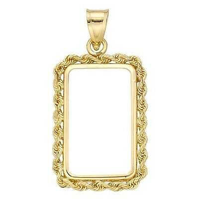 14~Kt Gold ~ Rope  Bezel ~ 1~Ounce Bar Size ~ With Bale ~Handmade~ Sale ~$249.88