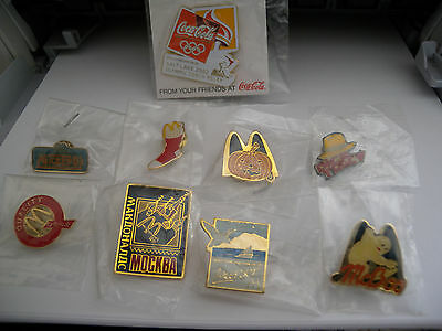 Lot of 9 McDonalds collectible Pins MINT in packaging ADVERTISING