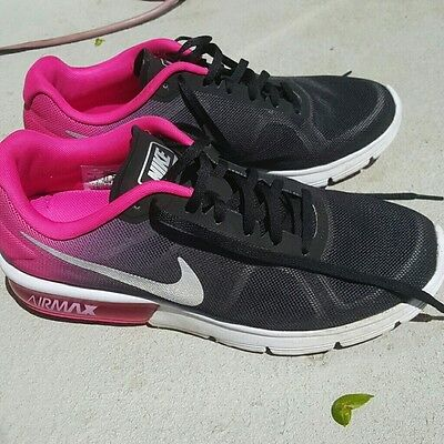 Women's Nike Air Max Sequent Black/Pink Running Shoes Sneakers Size 9