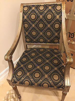 Pair of 2 Louis XV style armchairs - french ornate gold green vintage scroll