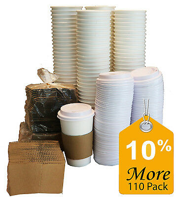 110 Paper Coffee Cups 12oz With Travel Lids Sleeves Solo Insulated Hot Cup To Go