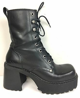 Vtg 90s Skechers Black Leather PLATFORM Lace-up 6 Ankle Calf Chunky Boots