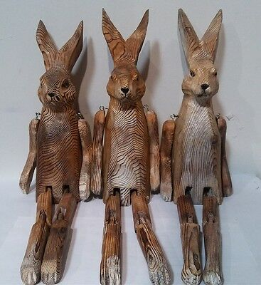 Victorian Trading Co 1 Whittled Woodland Shelf Rabbit Sitter Handmade