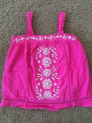 Baby Gap 4T Shirt Pink Flowers Cotton Embroidered Top Sleeveless Girls