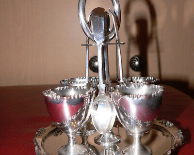 siver plate egg cup / breakfast set  by william hutton & sons