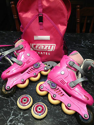 "GIRLS INLINE ADJUSTABLE SKATES "" Pink"" in EC"