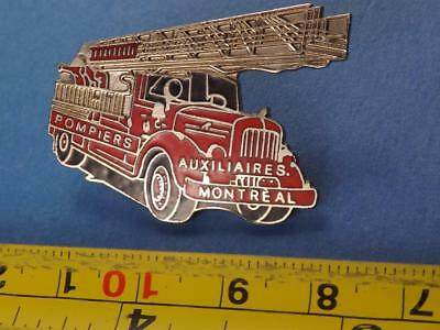 Montreal Fire Department Auxillary Ladder Truck Rare Pin Vintage Trucker Collect