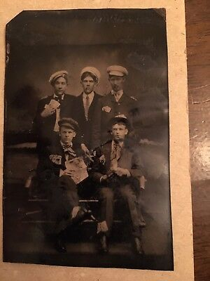 Vintage Tintype photo Poker Players Gamblers Cards Sailors