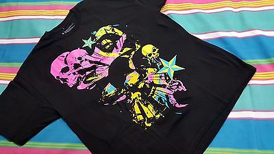 NSS Authentic Neon Tattoo Skull design Men T-shirt Size M Black Collectible NEW