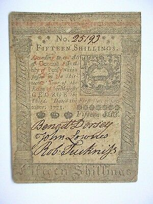 Colonial Currency Pennsylvania 1773 15s, Very Fine