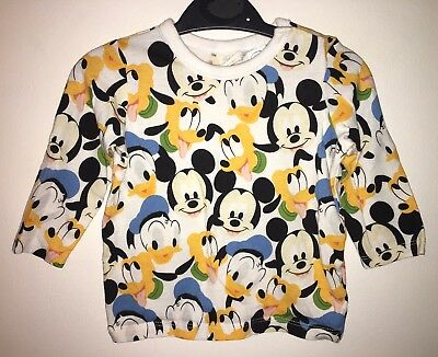 H&M Baby Boys Girls Disney Mickey Mouse Donald Duck Pluto Print Top 3-6 Months