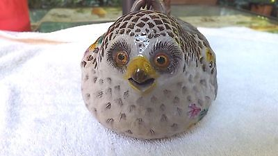 """Very Rare Banko 萬古焼き Japanese Pottery OWL Teapot  6 1/2"""" Long by 4 3/4"""" high"""