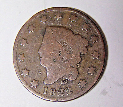 1822 Coronet Head Large Cent Circulated Big Penny Solid Copper (31517)