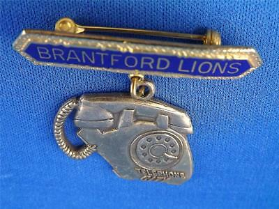 Lions Club Canada Brantford Ontario Vintage Pin Telephone City
