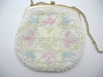Vintage Ivory, Pink, Blue Beaded Evening Bag with Gold Tone Clasp & Chain
