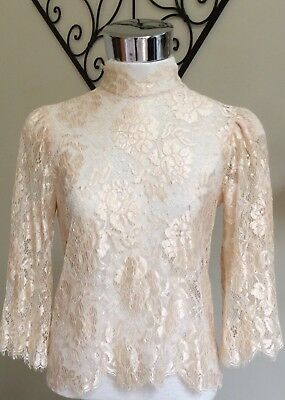 Vintage Sheer Lace Top Rhinestone Button Back Closure UNION MADE USA S/M
