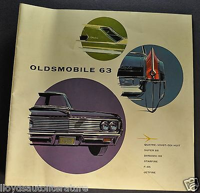 1963 Oldsmobile 32pg Brochure 98 Super 88 Starfire F-85 Jetfire French Canadian