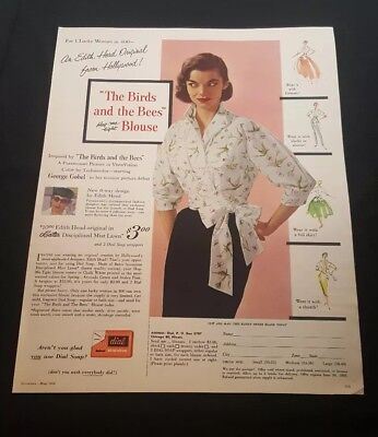 """1956 Edith Head """"Birds and the Bees"""" Blouse Print Ad"""