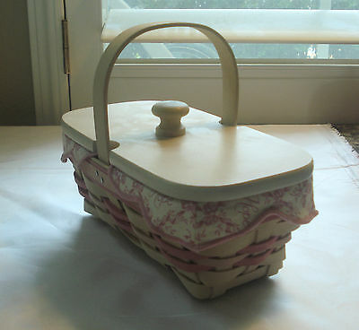 Longaberger Small White and Pink Basket with a Lid