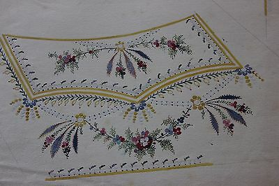 Antique French Hand Painted Gouache Emb Design For Menswear Vest c1780 Reserved