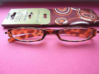Green Looks Reading Glasses With Case/readers/1.5/brown/new