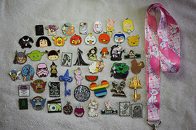 Disney pin trading Starter Set Lanyard + 50 pin lot NEW Pink Marie Cat Aristocat